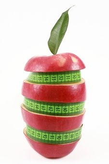 Free Red Apple And Green Measured Tape Stock Photos - 17278103