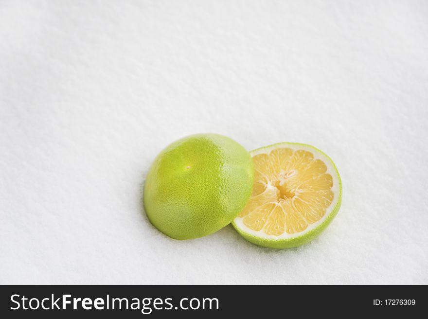 Grapefruit on snow