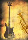 Free Grunge Background With Guitar And Trumpet Stock Images - 17281134