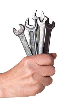 Free Hand With A Old Spanner Royalty Free Stock Photo - 17280355