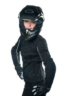 Free Woman In Motorcycle Clothing Royalty Free Stock Image - 17280696