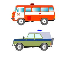 Free Machine To Ambulance And Police Bodies Stock Photography - 17281012