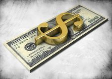 Pack Of Dollars And Golden 3d Dollar Sign Royalty Free Stock Photos