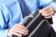 Businessman With Case Stock Image