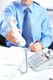 Free Businessman With Telephone Royalty Free Stock Photography - 17282297