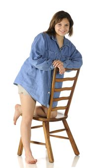 Free Teen On A Ladderback Chair Stock Images - 17282434
