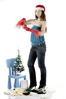 Free Santa Girl With Christmas Tree Stock Image - 17282831