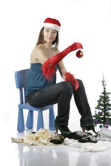 Free Santa Girl With Christmas Tree Royalty Free Stock Photo - 17282945