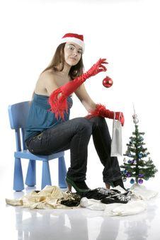 Free Santa Girl With Christmas Tree Stock Photo - 17282990