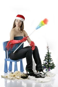 Free Santa Girl Cleaning Royalty Free Stock Images - 17283019