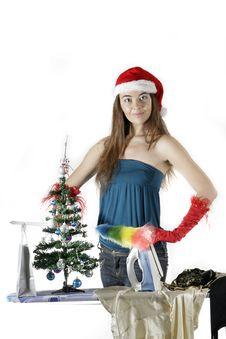 Free Santa Girl Cleaning Stock Photos - 17283333