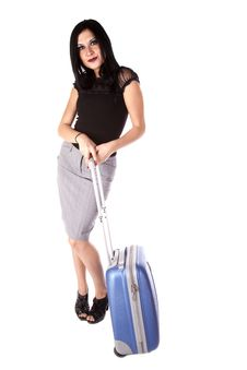 Free Dark Hair Woman Standing With Suitcase Royalty Free Stock Photography - 17283637