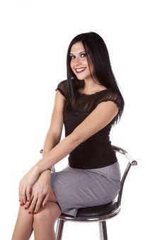 Woman Dark Hair On Barstool Smiling Royalty Free Stock Photo