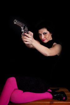 Woman Pink Gun Black Stock Photo