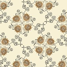 Free Pattern With Flowers, Retro Vector Royalty Free Stock Photos - 17284648