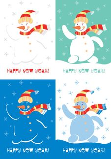 Happy New Year Snowman. Various Versions Of The Co