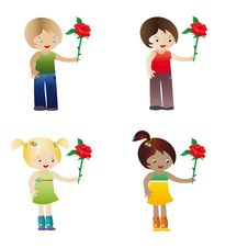 Free Kids With Rose Royalty Free Stock Photography - 17285507
