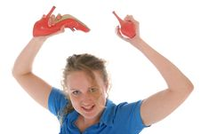 Free Malicious Woman Has Threatened Shoes Royalty Free Stock Photo - 17285545