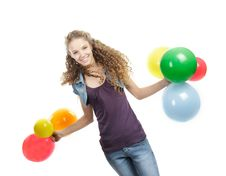 Happy Girl With Colorful Balloons Over Royalty Free Stock Images