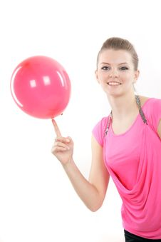Free Happy Girl With Colorful Balloons Over Royalty Free Stock Photo - 17285645