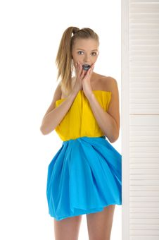Free Young Woman Looks Out Because Of Door Royalty Free Stock Images - 17285729