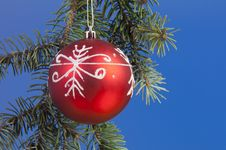 Red Ball And Green Branches Stock Images