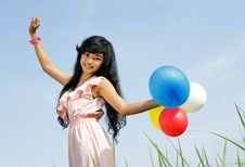 Free Happy Young Girl Playing Balloons Stock Photos - 17288283