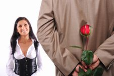 Free Young Man Gives His Girlfriend A Rose Stock Photography - 17288362