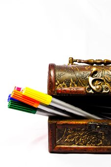 Free Chest Filled With Markers Royalty Free Stock Photos - 17288598