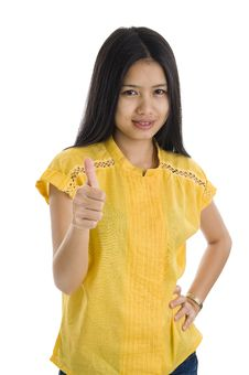 Free Woman Showing Thumb Up Stock Photography - 17289112