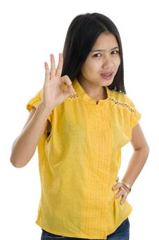 Free Woman With Ok Sign Royalty Free Stock Image - 17289166