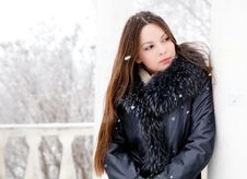 Free A Woman Is In The Winter Park Royalty Free Stock Photo - 17289375