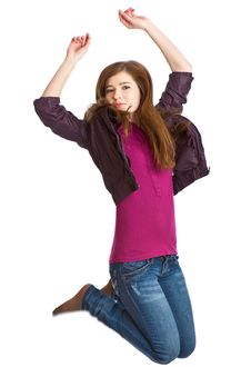 Teenage Girl Is Jumping Royalty Free Stock Images