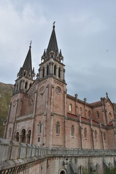 Peaks Of Europe Mountain Landscape At Covadonga Cathedral Stock Image