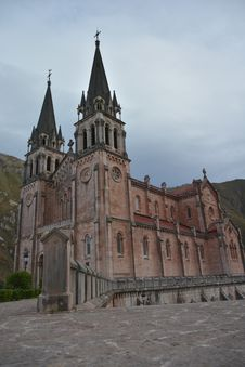 Peaks Of Europe Mountain Landscape At Covadonga Cathedral Royalty Free Stock Photography