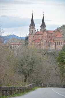 Peaks Of Europe Moutain Landscape At Covadonga Cathedral Royalty Free Stock Image