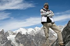 Climber Standing On The Top Of Kongma La Pass Stock Image