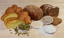 Variety Of Bread And Ingredients Royalty Free Stock Photography