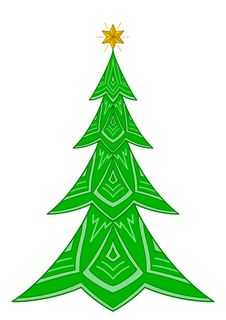 Christmas Fir-tree With Star Stock Photo