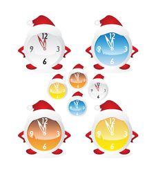 Free Christmas Clock Set Royalty Free Stock Image - 17293326