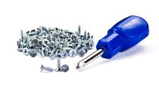 Free Metal Screws And Screwdriver Royalty Free Stock Photo - 17293685