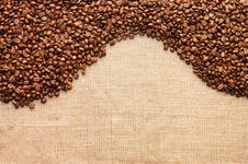 Free Brown Coffee Grains On A Sacking Royalty Free Stock Photo - 17294025