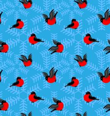 Free Pattern With Bullfinches And Snowflakes Stock Image - 17294411