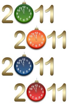 Free New Year S Background With Clocks Royalty Free Stock Photos - 17295258