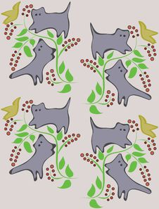 Free A Background With Cats On Trees. Royalty Free Stock Images - 17295399