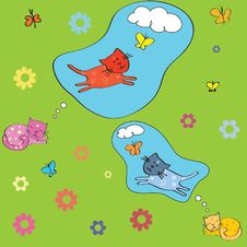 Free Background With Cats, Birds And Butterflies. Stock Photography - 17295432