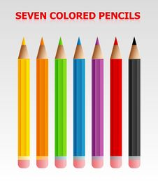 Seven Colored Pencils Royalty Free Stock Image