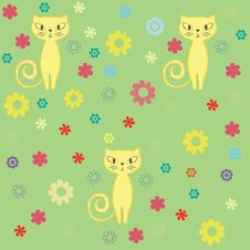 Free Seamless Cat And Flowers Background. Stock Photography - 17295812