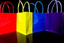 Gift Bags On Black Stock Photography