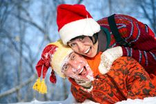 Free Couple In Winter Royalty Free Stock Photo - 17295945